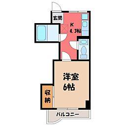 栃木県小山市駅東通り2丁目の賃貸マンションの間取り