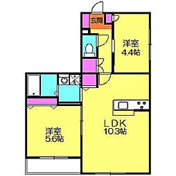 オーチャード・アパートメントD[1階]の間取り
