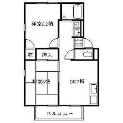 福岡県福岡市東区香椎6丁目の賃貸アパートの間取り