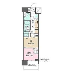 ザ・パークハウスアーバンス渋谷 8階1DKの間取り