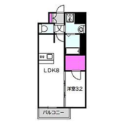 アドバンス大阪ブリアント 3階1LDKの間取り