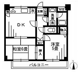 千葉県松戸市胡録台の賃貸マンションの間取り