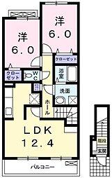 近鉄南大阪線 河内松原駅 バス19分 下黒山下車 徒歩1分の賃貸アパート 2階2LDKの間取り