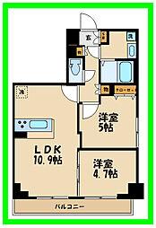 リージア経堂イーストプレイス 3階2LDKの間取り