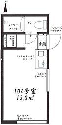 JR埼京線 大宮駅 徒歩8分の賃貸アパート 1階ワンルームの間取り