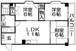 京阪本線 香里園駅 徒歩5分の賃貸マンション 2階2LDKの間取り