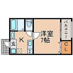 滋賀県長浜市中山町の賃貸マンションの間取り