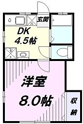 多摩都市モノレール 程久保駅 徒歩2分の賃貸アパート 2階1DKの間取り