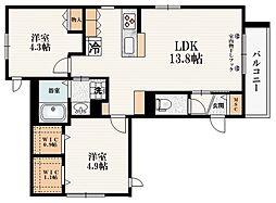 JR山手線 大塚駅 徒歩8分の賃貸マンション 3階2LDKの間取り