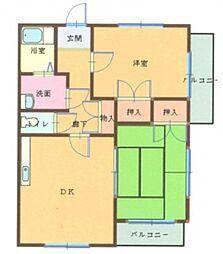 リビエ川崎 4階2DKの間取り