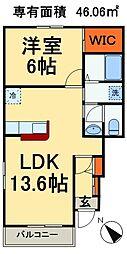 JR総武線 稲毛駅 バス15分 宮野木市営住宅下車 徒歩2分の賃貸アパート 1階1LDKの間取り