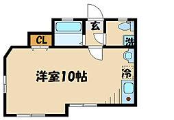 DOME-TAMA M棟M 1階ワンルームの間取り
