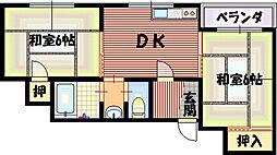 ガーデンヒル平野[1階]の間取り