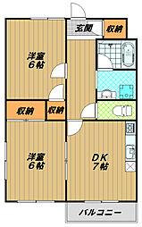 フルールド西神戸 2階2DKの間取り