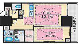 ノルデンタワー江坂プレミアム 2階1LDKの間取り