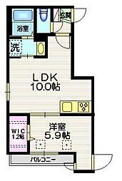 プリマヴェーラ ヴェント 3階1LDKの間取り