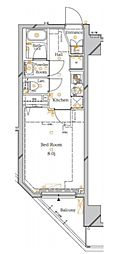 東京メトロ東西線 木場駅 徒歩10分の賃貸マンション 7階1Kの間取り