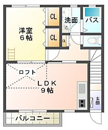 愛知県豊田市寿町5丁目の賃貸アパートの間取り