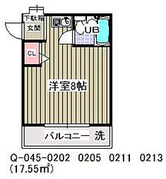 ローズアパートQ45番館[206号室]の間取り