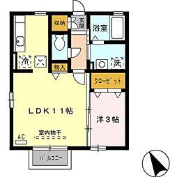 愛知県豊橋市飯村町字南池上の賃貸アパートの間取り