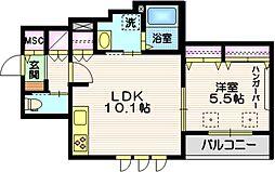 東急目黒線 西小山駅 徒歩15分の賃貸マンション 2階1LDKの間取り