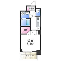 エスリード大阪上本町レジェーロ 14階1Kの間取り