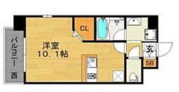 福岡市地下鉄空港線 大濠公園駅 徒歩5分の賃貸マンション 9階ワンルームの間取り