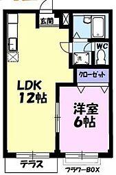 JR高崎線 北鴻巣駅 徒歩15分の賃貸アパート 2階1LDKの間取り