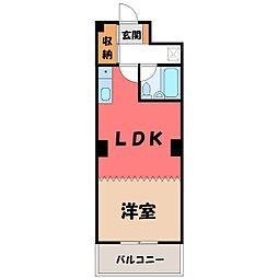 栃木県宇都宮市馬場通り3丁目の賃貸マンションの間取り