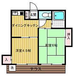 東京都杉並区上高井戸3丁目の賃貸アパートの間取り