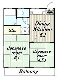 東京都日野市南平6丁目の賃貸アパートの間取り