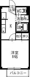愛知県春日井市東神明町2丁目の賃貸アパートの間取り