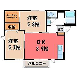 栃木県小山市乙女3丁目の賃貸アパートの間取り