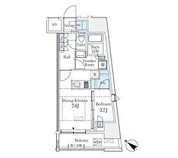 プライムレジデンス渋谷 6階1DKの間取り