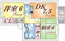 兵庫県神戸市須磨区大池町1丁目の賃貸アパートの間取り