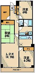 ゼルコバコーポラス 3階3SLDKの間取り
