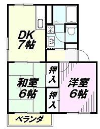 埼玉県所沢市北中3丁目の賃貸マンションの間取り