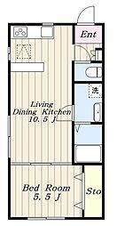JR南武線 稲城長沼駅 徒歩11分の賃貸アパート 1階1LDKの間取り