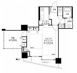 河田町コンフォガーデン1号棟[14階]の間取り