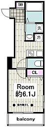 Laurel First(ローレル ファースト) 4階1Kの間取り