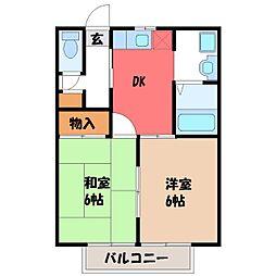 栃木県宇都宮市東宝木町の賃貸アパートの間取り