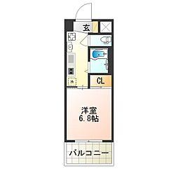 近鉄南大阪線 針中野駅 徒歩5分の賃貸マンション 5階1Kの間取り