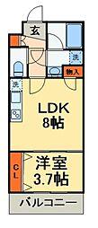 JR総武線 船橋駅 徒歩15分の賃貸マンション 3階1LDKの間取り