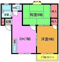 千葉県船橋市本中山7丁目の賃貸アパートの間取り
