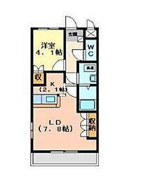 東武越生線 越生駅 徒歩7分の賃貸アパート 2階1LDKの間取り