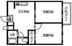 タウンコートB[2階]の間取り