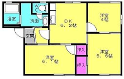 兵庫県高砂市伊保崎1丁目の賃貸アパートの間取り