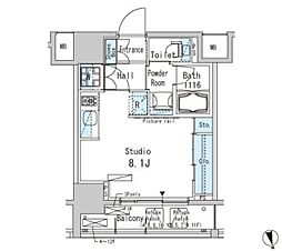 JR山手線 上野駅 徒歩9分の賃貸マンション 9階ワンルームの間取り