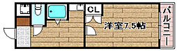 ステュディオYURI 1階1DKの間取り