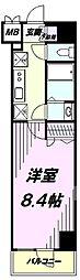 多摩都市モノレール 上北台駅 徒歩1分の賃貸マンション 6階1Kの間取り